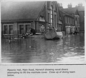 The Harwich Masonic Hall 1953 Great Flood Divers