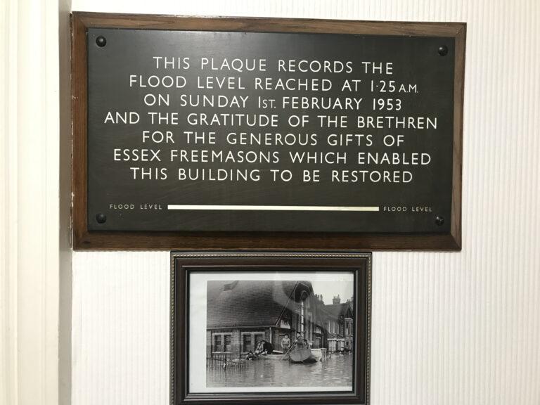 The Harwich Masonic Hall 1953 Great Flood commemorative plaque